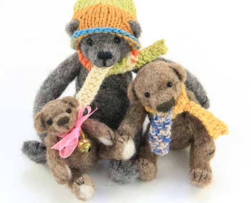 Felted Teddy Bear Family